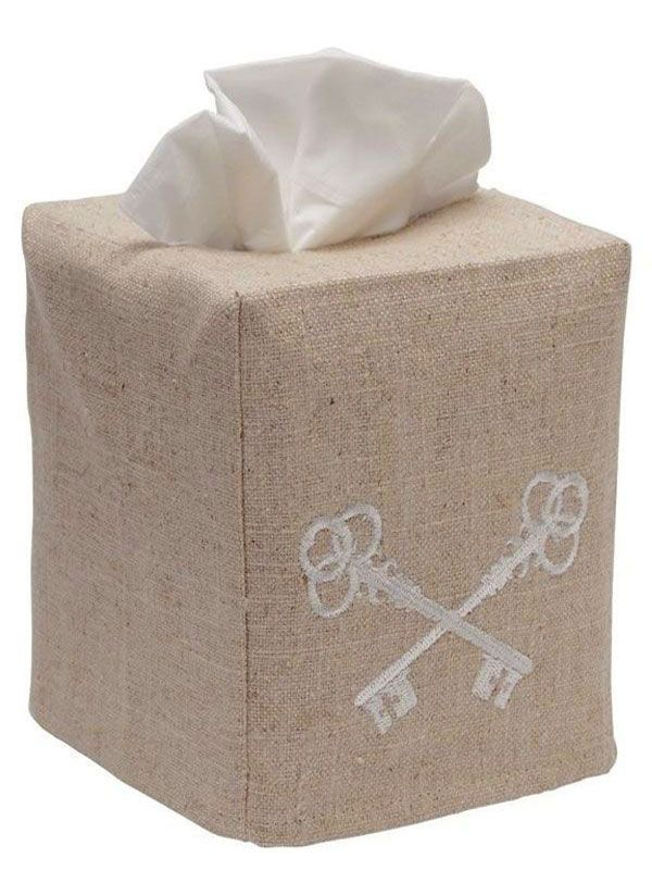 DG23-CKBE Tissue Box Cover, Natural Linen - Crossed Keys (Beige)