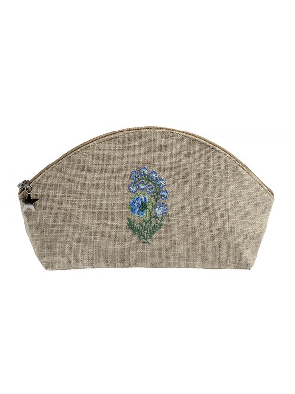DG38-FLBL Cosmetic Bag, Natural Linen (Small) - Fleur (Blue)
