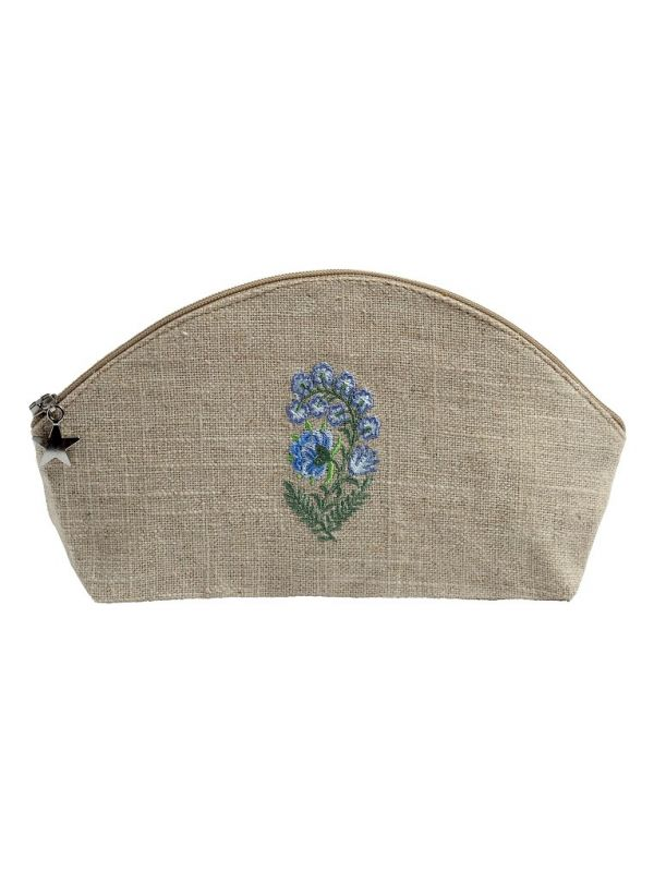 Cosmetic Bag (Small) - Natural Linen, Embroidered - DG38