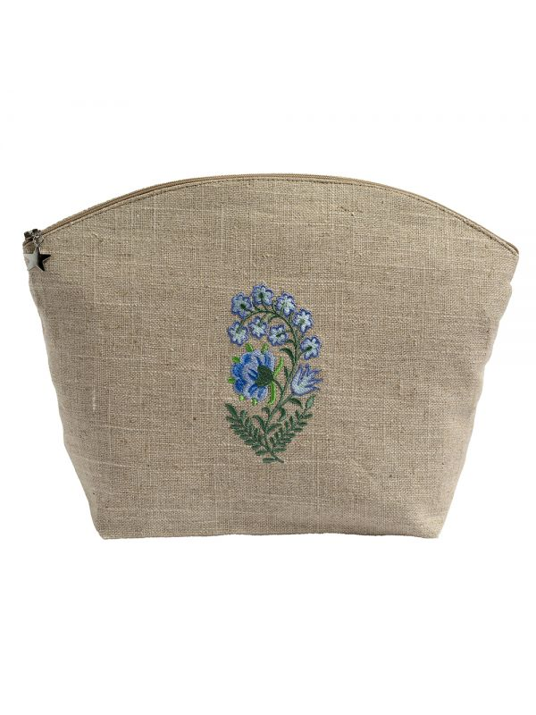 DG39-FLBL Cosmetic Bag, Natural Linen (Large) - Fleur (Blue)