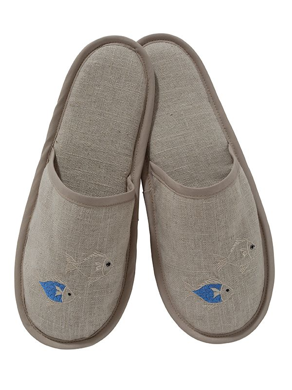 DG40-SOFBBE Slippers, Natural Linen - School of Fish (Blue, Beige)