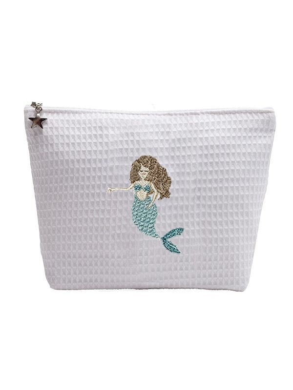 mermaid brunette cosmetic bag
