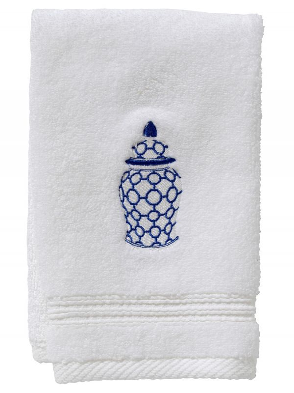 Guest Towel, Terry, Ginger Jar Chain-Links (Blue) - DG70-GJCBL