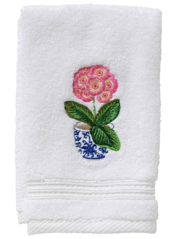 pot of peonies pink terry guest towel