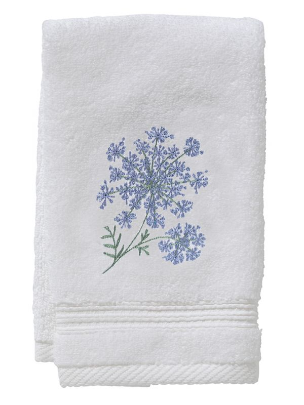 DG70-QALBL Guest Towel, Terry - Queen Anne's Lace (Blue)