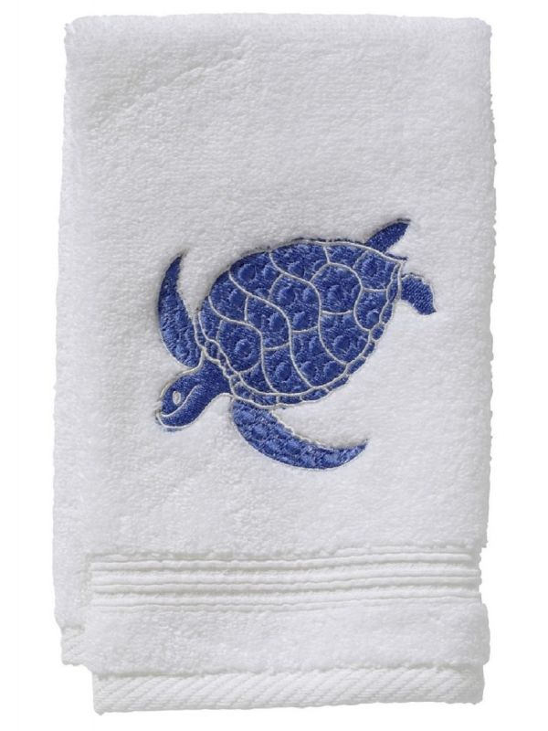 Guest Towel, Terry, Swimming Turtle (Blue) - DG70-SSTBL
