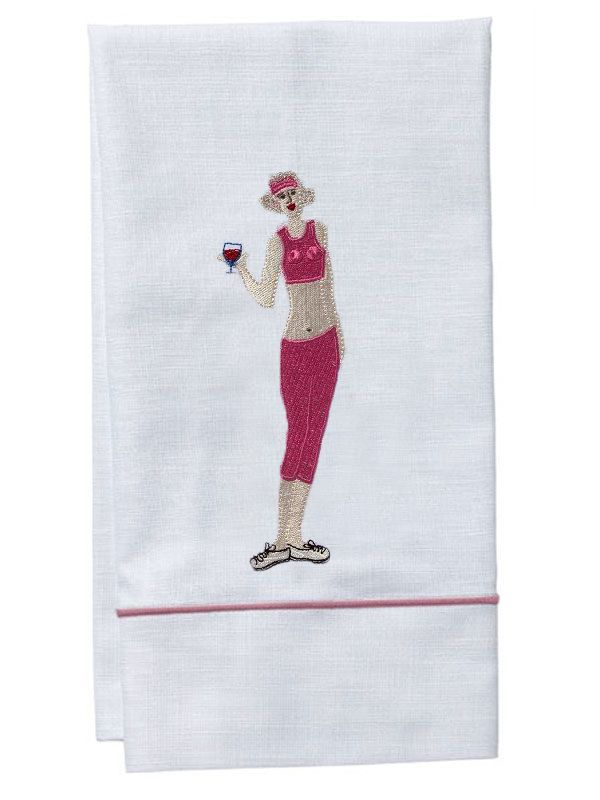 Guest Towel, White Linen, Satin Stitch, Wine Workout Girl (Pink) - DG84-WWGPK