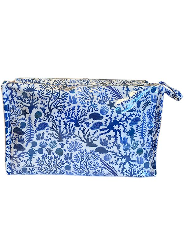 seashells blue cosmetic bag box
