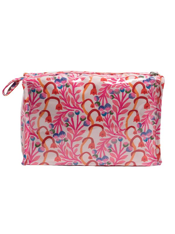 Box Cosmetic Bag, Vinyl Covered, Top Zipper, Strawberry Vine (Pink) - DN308-SVPK