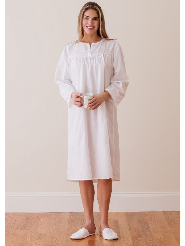 Diane White Cotton Nightgown, Embroidered** - EL219