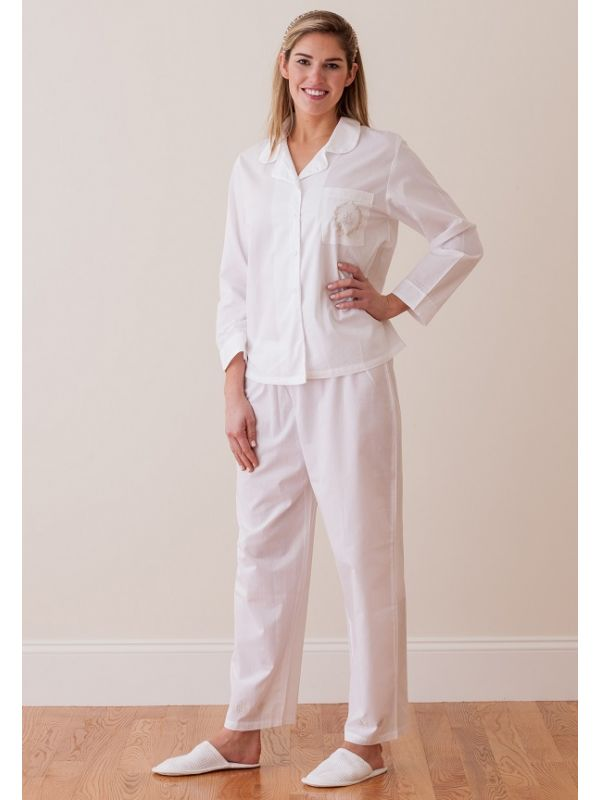 Lorraine White Cotton Pajamas, Embroidered** - EL225