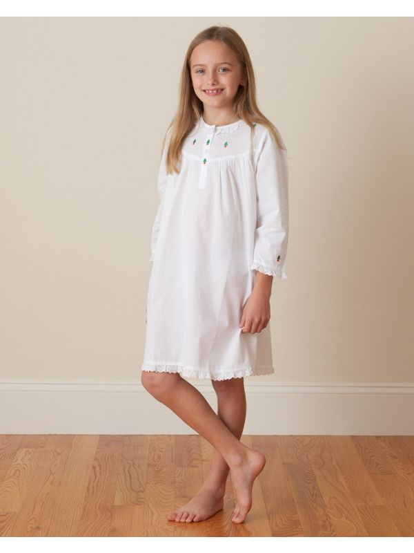 Christmas (Girls) White Cotton Dress, Embroidered** - EL230