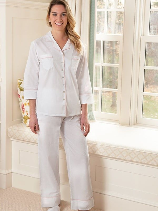 Mary White Cotton Pajamas, Pink Piping** - EL273