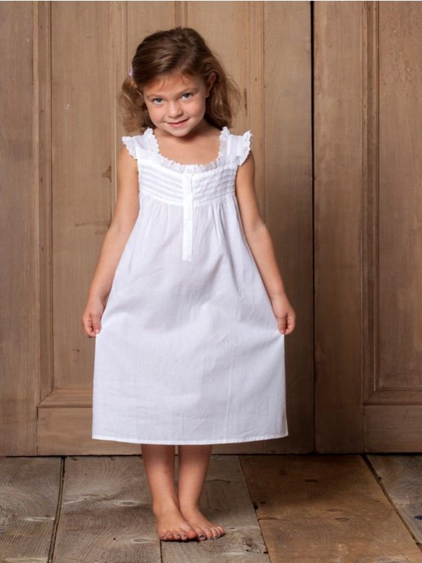 Jessie White Cotton Dress, Ruffle** - EL274