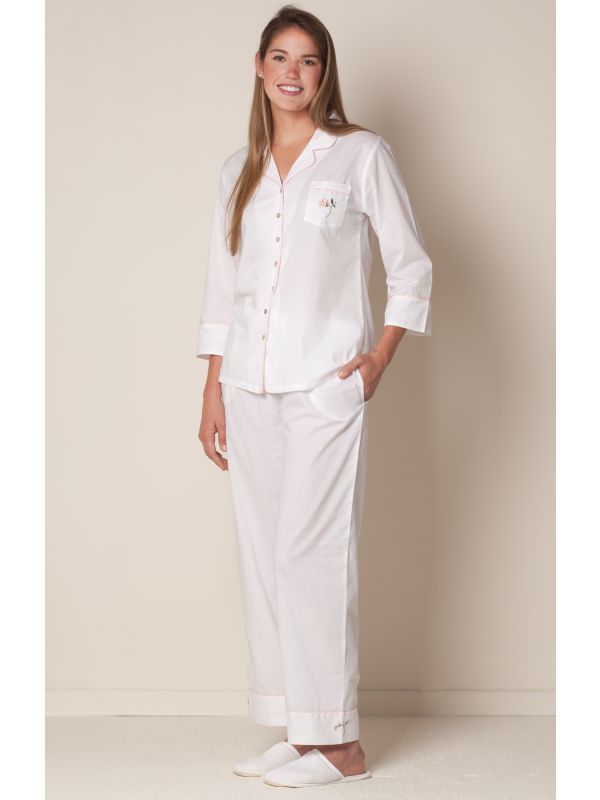 Carol White Cotton Pajamas, Embroidered** - EL276
