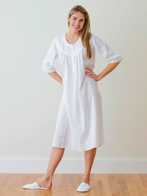 Liz White Cotton Nightgown, Smocking & Lace** - EL290