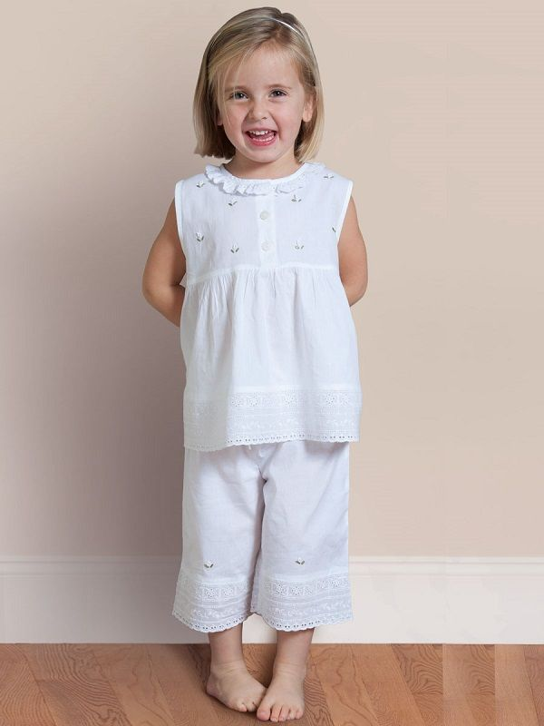 Rosie White Cotton Girls 2-Piece Pants Set, Embroidered** - EL297