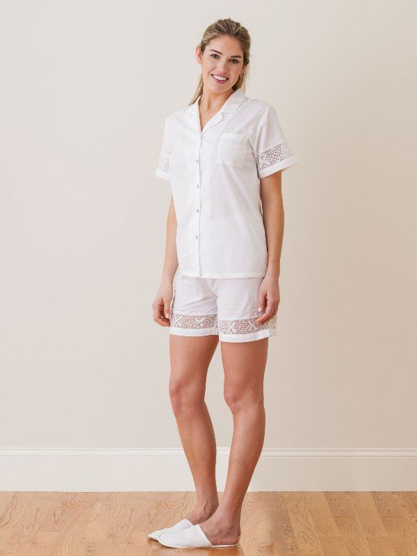 Pru White Cotton 2-Piece Shorts Set, French Lace** - EL298