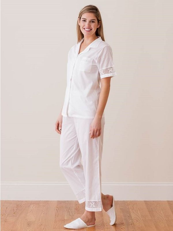 Alison White Cotton Pajamas ** - EL299