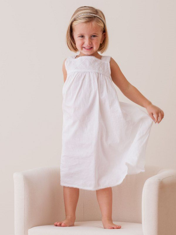 Chelsea White Cotton Dress, Lace** - EL303