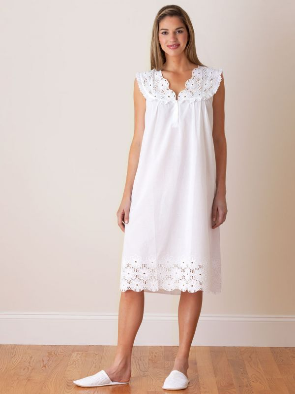 Eloise White Cotton Nightgown** - EL310
