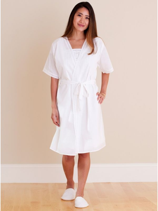 Bathrobe - White Cotton, Short Sleeve - EL326**