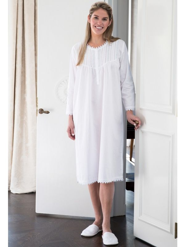 Emily White Cotton Nightgown** - EL334