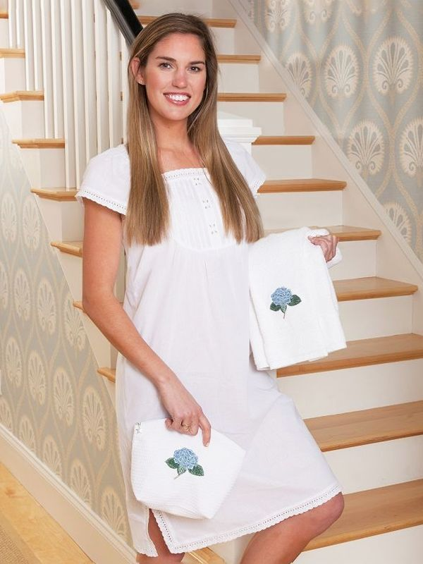Emma White Cotton Nightgown** - EL317