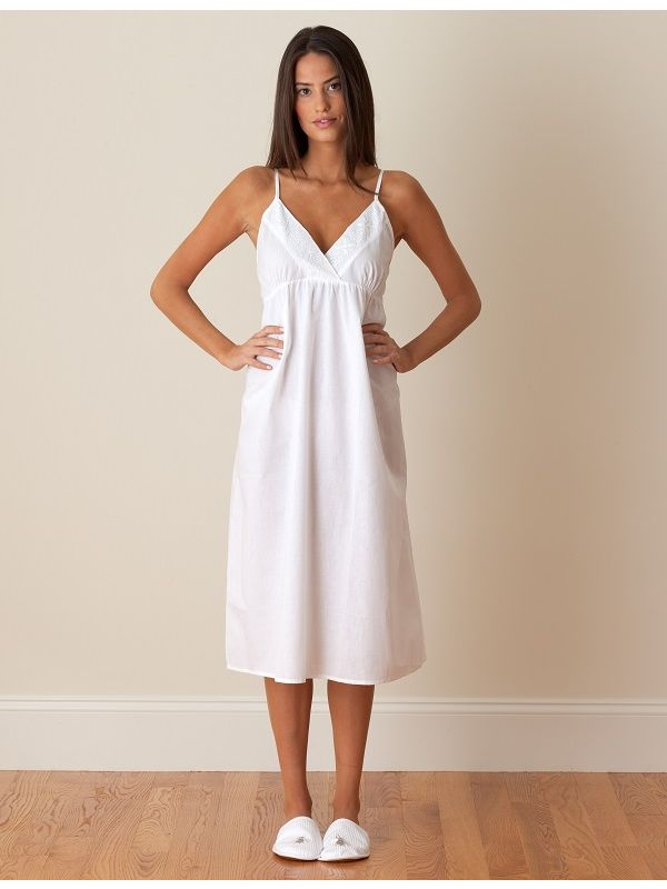 Amy White Cotton Nightgown** - EL312