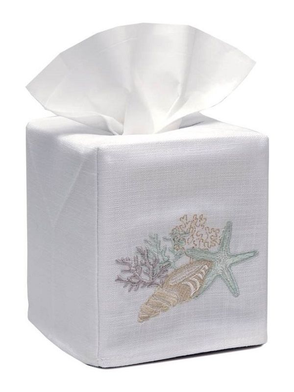 DG17-SCHAQ Tissue Box Cover, Linen Cotton - Shell Collection (Aqua)