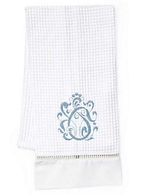 Guest Towel, Waffle Weave, English Scroll (Duck Egg Blue) - DG02-ESDE