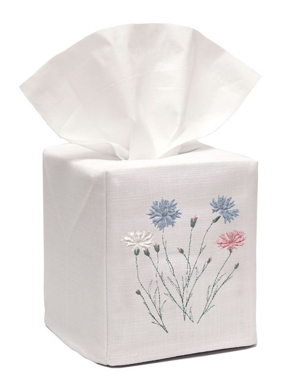 DG17-WFP** Tissue Box Cover, Linen Cotton - Wild Flowers (Pastel)