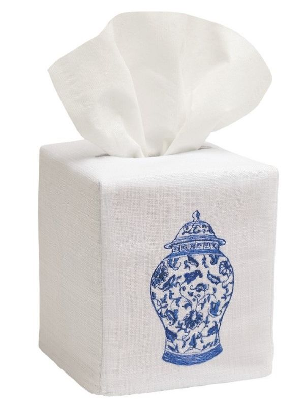 DG17-GJW** Tissue Box Cover, Linen Cotton - Ginger Jar (Wide)