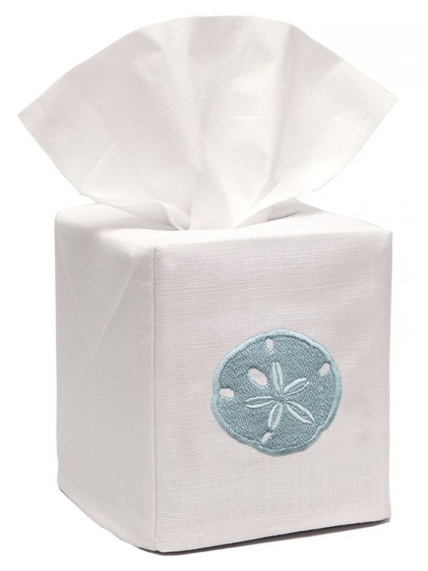 DG17-SDAQ** Tissue Box Cover, Linen Cotton - Sand Dollar (Aqua)