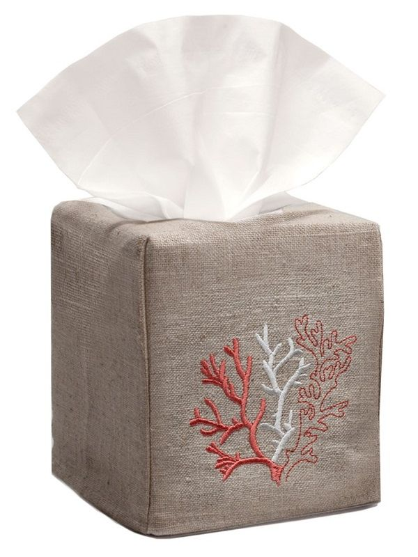 DG23-CLCL** Tissue Box Cover, Natural Linen - Coral (Coral)