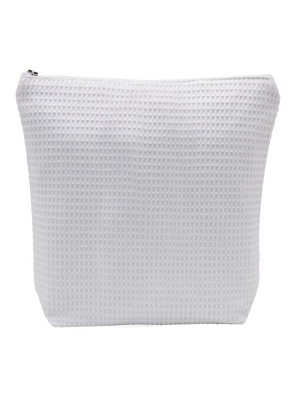 Cosmetic Bag (Large) - White Waffle Weave, Straight Top