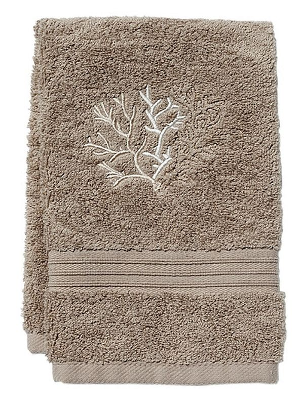 DG71-CLBE** Guest Towel, Taupe Terry - Coral (Beige)