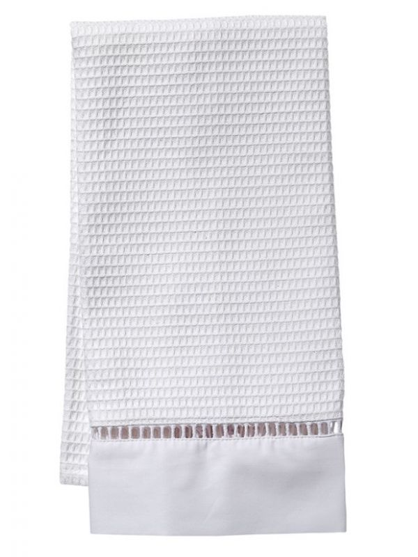 Guest Towel - White Waffle Weave, Ladder Lace, No Embroidery - LG62**