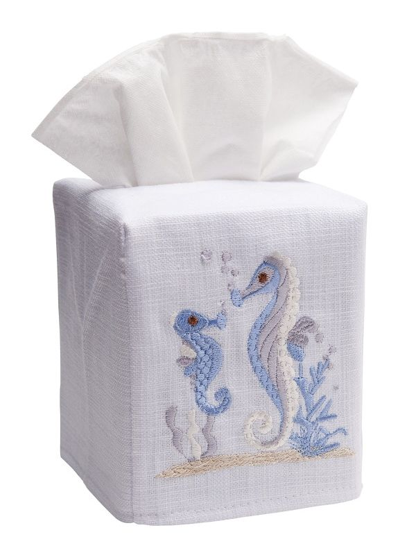 DG17-SHBDE Tissue Box Cover, Linen Cotton - Seahorse & Baby (Duck Egg Blue)