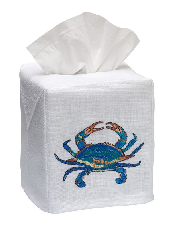 DG17-ACBL Tissue Box Cover, Linen Cotton - Atlantic Crab (Blue)