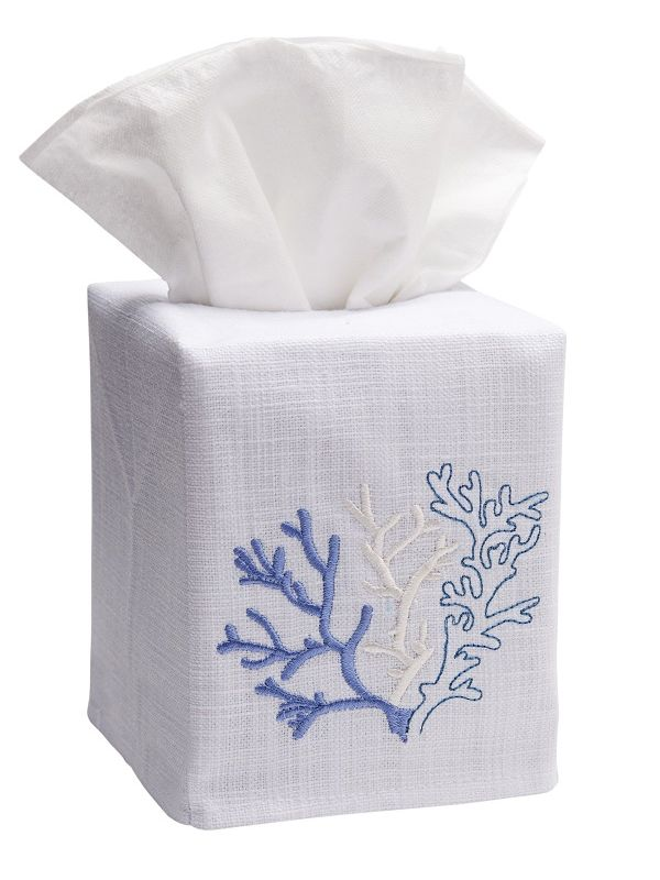 DG17-CLBL Tissue Box Cover, Linen Cotton - Coral (Blue)