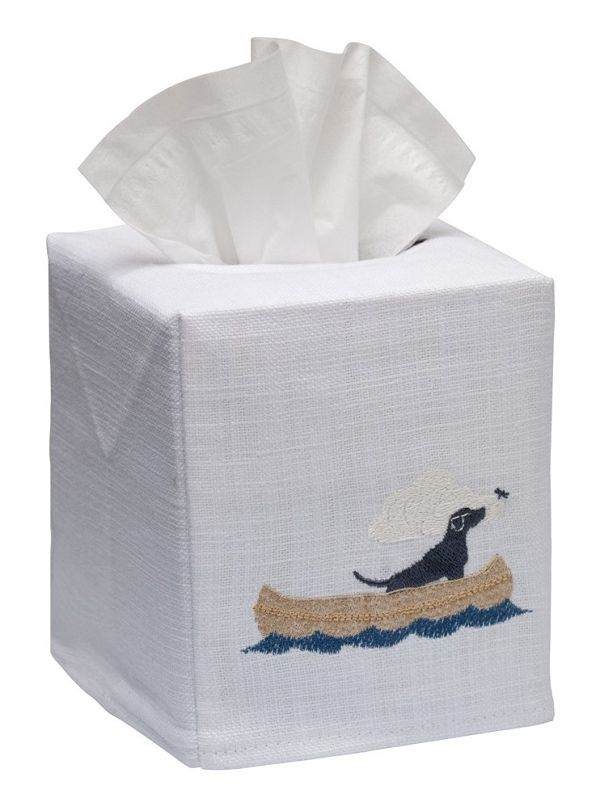 DG17-DIB Tissue Box Cover, Linen Cotton - Dog in Boat