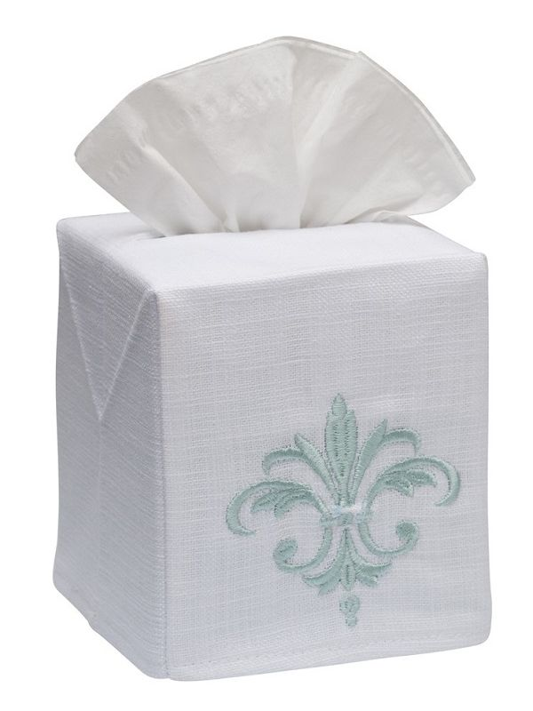 DG17-FDFAQ Tissue Box Cover, Linen Cotton - Fleur de France (Aqua)