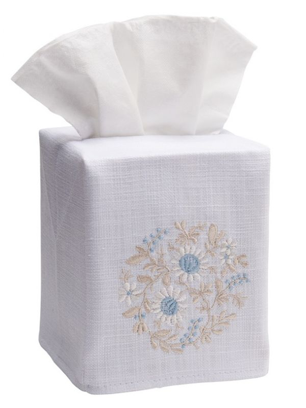 DG17-FWBDE Tissue Box Cover, Linen Cotton - Flower Wheel (Beige / Duck Egg Blue)