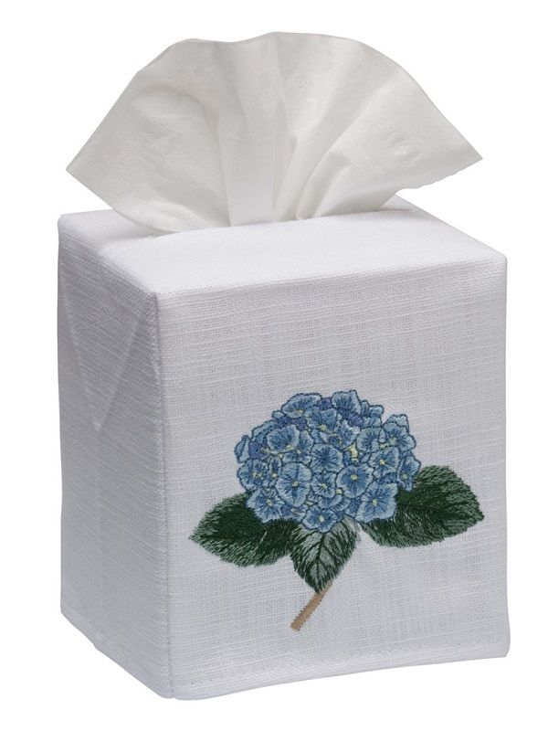 DG17-HYDTBL Tissue Box Cover, Linen Cotton - Hydrangea Too (Blue)