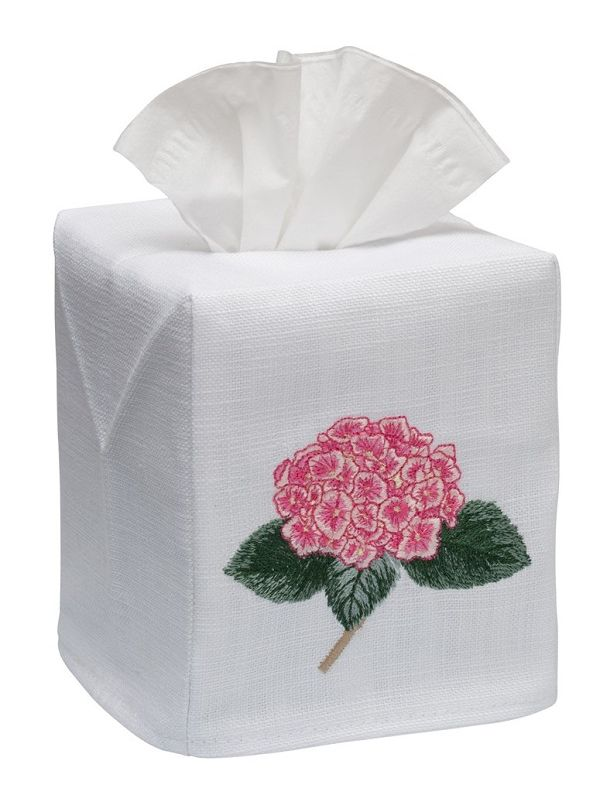 DG17-HYDTPK Tissue Box Cover, Linen Cotton - Hydrangea Too (Pink)