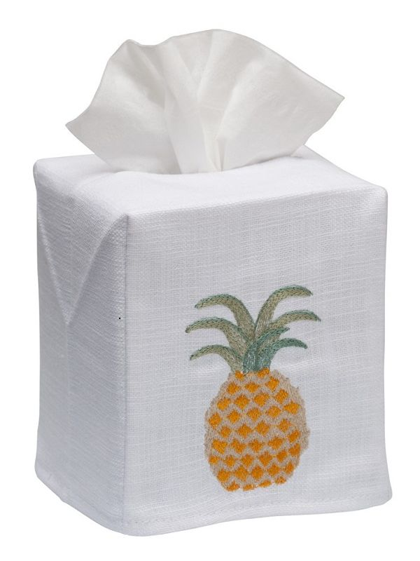 DG17-PIAP** Tissue Box Cover, Linen Cotton - Pineapple