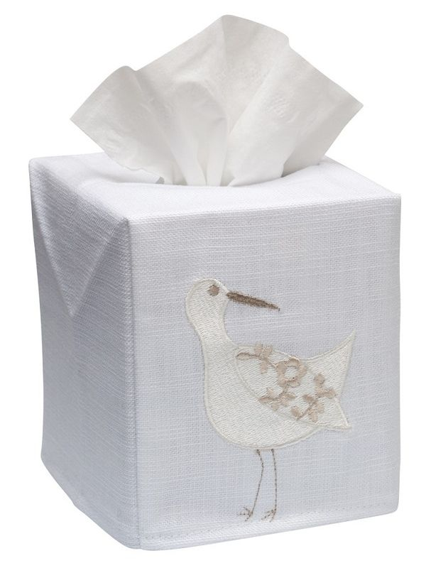 DG17-SPWCR Tissue Box Cover, Linen Cotton - Sandpiper (White, Cream)