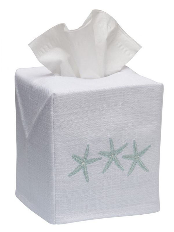 DG17-TSFAQ Tissue Box Cover, Linen Cotton - Three Starfish (Aqua)