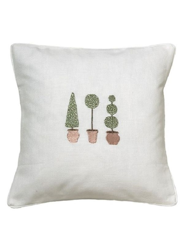 DG18-TTTO Throw Pillow, Linen / Cotton - Three Topiary Trees (Olive)
